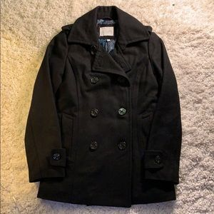 Y2K Delias Black Wool Sailor Anchor Pea Coat